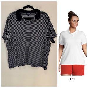 Lands' End Striped Cotton Polo Shirt
